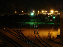 2005 view of NW Portland Train Yard. Shows night view of NW Portland, OR in 2005 Royalty Free Stock Images