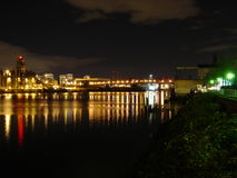 2005 view of NW Portland Willamette River. Shows night view of NW Portland view of Willamette River in Portland, OR in 2005 Royalty Free Stock Photos