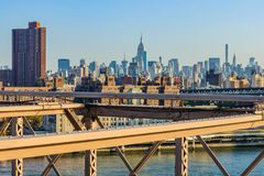 View of NYC midtown from Brooklyn Bridge, New York, USA Stock Images