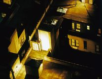 A view of NYC roof tops at night time.  royalty free stock images