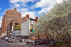 View of NYC streets near Clement Clarke Moore Park Royalty Free Stock Images