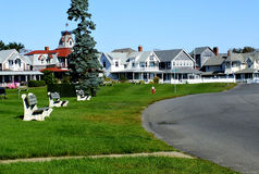 View of Oak Bluffs waterfront cottages stock photography