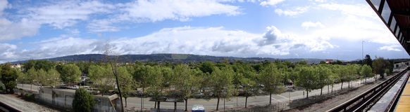 View from Oakland Coliseum BART Station platform Royalty Free Stock Images