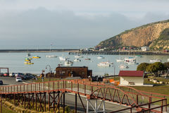 View of Oamaru Harbour taken from Loan and Merc building Royalty Free Stock Photography