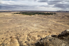 View of the oasis from the top of the hill. Panoramic oasis view near bahariya, Egypt Stock Photos