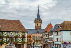 View of Obernai, Alsace, France. View of Obernai with Kapellturm tower, Alsace, France stock photo