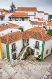 View of Obidos from fortified wall in cloudy day Stock Photography
