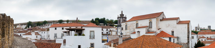 View of Obidos from fortified wall in cloudy day Stock Image
