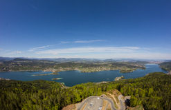 View From Observation Tower Pyramidenkogel To Lake Woerth Stock Photography