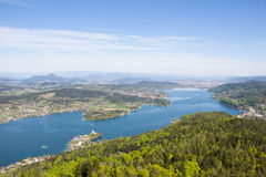 View From Observation Tower Pyramidenkogel To Lake Woerth Royalty Free Stock Images