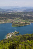 View From Observation Tower Pyramidenkogel To Lake Woerth Stock Images