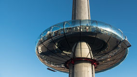 View of the observation tower on the seafront of Brighton and Hove. England royalty free stock images