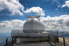 View of observatory of pic du midi de bigorre, french pyrenees royalty free stock image
