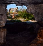View from the obsolete cave house in Mangup Kale Royalty Free Stock Images