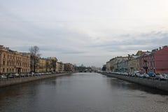 View of Obukhovsky bridge and the river Fontanka. In St. Petersburg stock image
