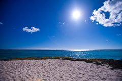 View of the ocean from the beach in the Dominican Royalty Free Stock Image
