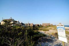 View of Ocean Beach Village coastline on Fire Island stock images