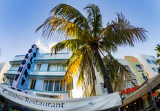 View at Ocean drive  with colony hotel in Miami in the art deco Royalty Free Stock Image