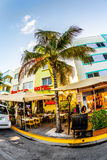 View at Ocean drive  in Miami in the art deco district Royalty Free Stock Photo