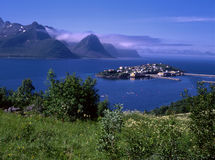 View of ocean fjord with small island Royalty Free Stock Photo