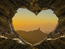 View of the ocean from a heart-shaped cave. Canary islands Royalty Free Stock Photo