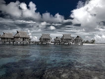 View of the ocean and the house on water.Sea tropical landscape in a sunny day Stock Images