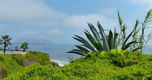Lima, Peru. Pacific coast view from the park in Miraflores district. royalty free stock photos