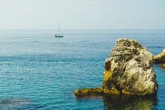 Croatian bay boat in horizon royalty free stock photo