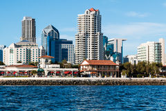 View From the Ocean of Seaport Village and Downtown Skyline. SAN DIEGO, CALIFORNIA - MARCH 2, 2017: View from the ocean of Seaport Village restaurant and stock images