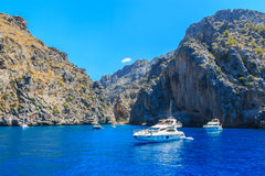 View from ocean to Sá Calobra beach Stock Image