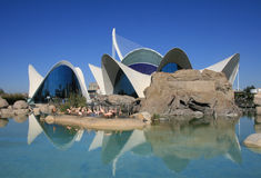 View of Oceanographic. In the City of Arts and Sciences  in Valencia, Spain. L'Oceanogrà is the largest complex of its type in all of Europe Stock Photography