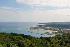 View of Ocho Rios. A landscape picture overseeing the town of Ocho Rios in Jamaica stock photography