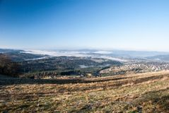View from Ochodzita hill in autumn Beskid Slaski mountains in Poland. View from Ochodzita hill above Koniakow village in Beskid Slaski mountains in Poland during Stock Image