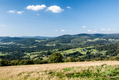 View from Ochodzita hill in Beskid Slaski mountains in Poland Royalty Free Stock Photos
