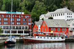 View of the Odda town in Hordaland, Norway. Odda, Norway - June 20, 2018: View of the Odda town in Hordaland county, a popular tourist destination located at the stock photo