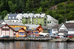View of the Odda town in Hordaland, Norway. Odda, Norway - June 20, 2018: View of the Odda town in Hordaland county, a popular tourist destination located at the stock photos