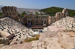 View of the Odeon from the Acropolis of Athens. At The Acroplis Of Athens. History, Architecture, Travel, Cruises. stock photography