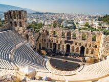 View of the Odeon of Gerod from the height of the Acropolis of Athens, Greece stock photo