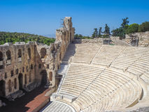View of the Odeon theater located in Athens. Athens, Greece - August 23, 2011: View of the Odeon theater located in Athens, Greece. This view is from Acropolis Royalty Free Stock Images