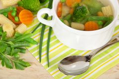 View Of A Pot Hot Minestrone Soup Stock Photography