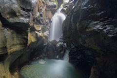Free View Of A Waterfall In A Deep Narrow Canyon Known As Gouffre Des Busserailles In Aosta Valley Near Breuil-Cervinia, Italy Royalty Free Stock Photos - 156562508