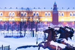 Free View Of Alexander Garden In Blue Snowing Evening, Moscow Royalty Free Stock Photos - 28849448