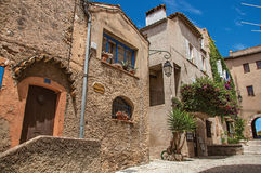 Free View Of Alley With Houses And Flowered Creeper In Haut-de-Cagnes. Royalty Free Stock Photography - 98173747