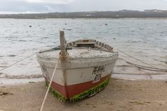 Free View Of An Old And Traditional Fishermen Wood Boats On The Nazare Lagoon Royalty Free Stock Image - 148003186