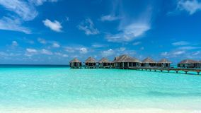 Free View Of Beautiful Blue Ocean Water And Bungalows In Maldives. Stock Photos - 126081503