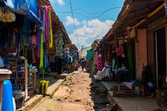 Free View Of Colorful Open Air Street Market In Doula Cameroun During Sunny Day With Traditional Clothes Royalty Free Stock Image - 125594316