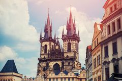 Free View Of Colorful Prague Europe Castle And Old Town With Red Tile Roofs, Czech Republic. Concept Travel Royalty Free Stock Photography - 150515517