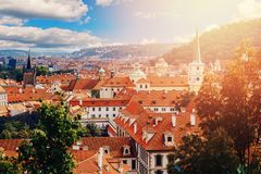Free View Of Colorful Prague Europe Castle And Old Town With Red Tile Roofs, Czech Republic. Concept Travel Stock Photography - 150516612