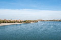 Free View Of Danube River Petrovaradin Fortress And City Beach Strand Of Novi Sad Serbia With Blue Sky Above On Sunny Autumn Day Royalty Free Stock Image - 130624276