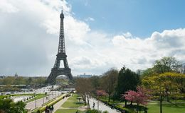 Free View Of Eiffel Tower From Trocadero Against A Cloudy Sky Stock Images - 144997344
